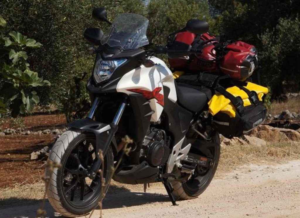 Dirtsack Frogman waterproof soft panniers on the CB500X in Greece